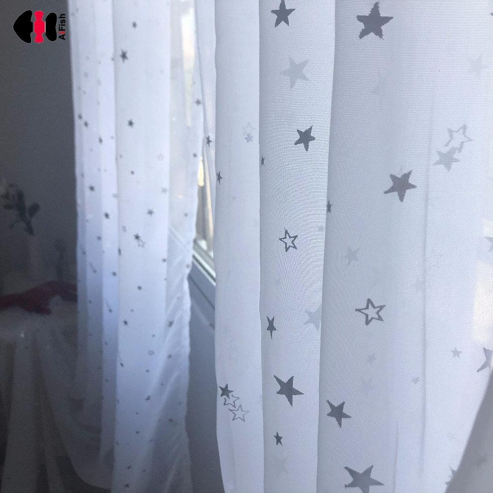 Blue Curtains for Bedroom Fresh Nature White Tulle Sliver Star Hot Stamping Terylene Sheer Cheap Tulle Window Treatment Panel for Bedroom Gauze Wp234c