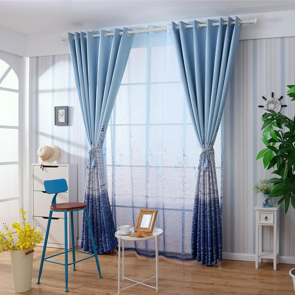 Blue Curtains for Bedroom Lovely Castle Print Blackout Curtains Bedroom Windows Decor Drapes