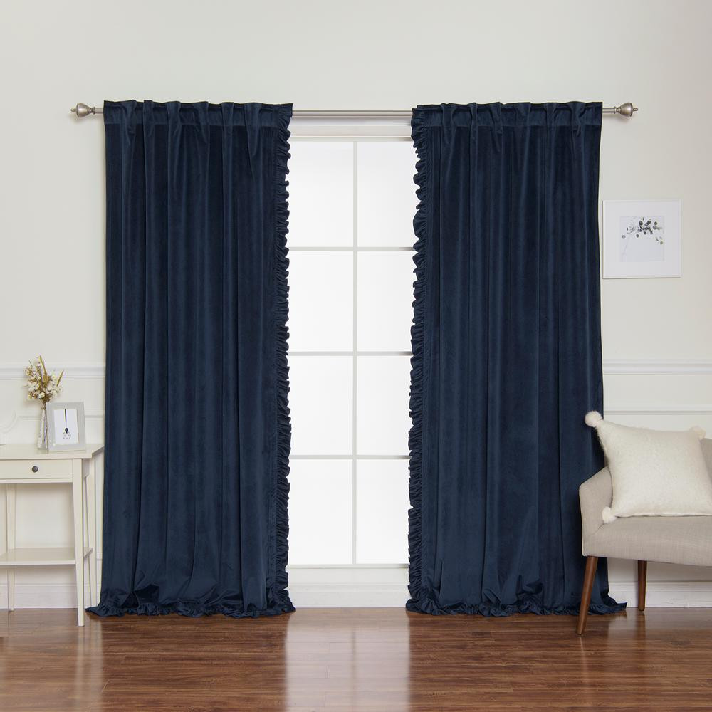 Blue Curtains for Bedroom Luxury Luster 52 In W X 84 In L Velvet Ruffle Curtains In Navy 2