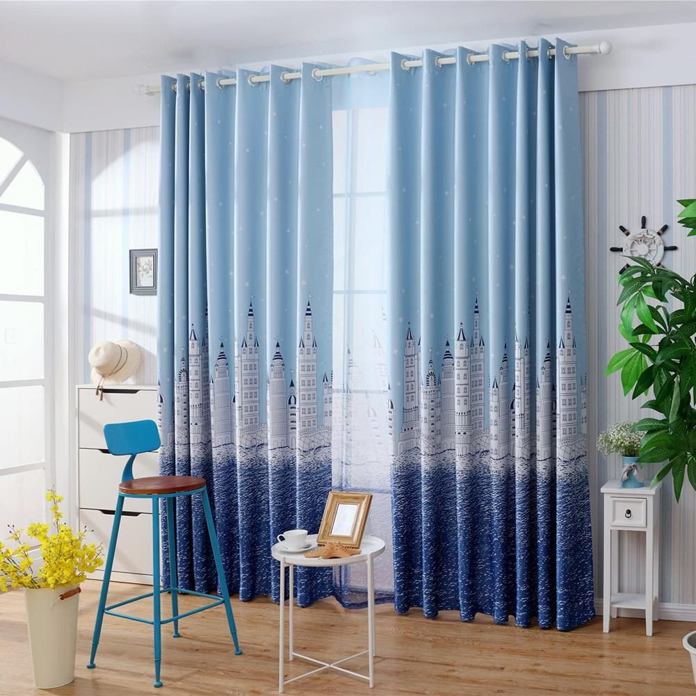 Blue Curtains for Bedroom New Castle Print Blackout Curtains Bedroom Windows Decor Drapes