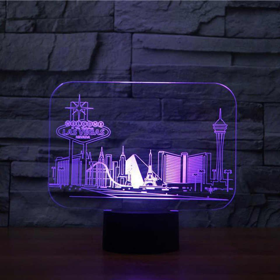 Blue Table Lamps Bedroom Inspirational 3d Led Vision 7 Colors Changing Las Vegas Building Table Lamp Bedroom atmosphere Sleep Lighting Usb Decor Kids Gifts Night Light