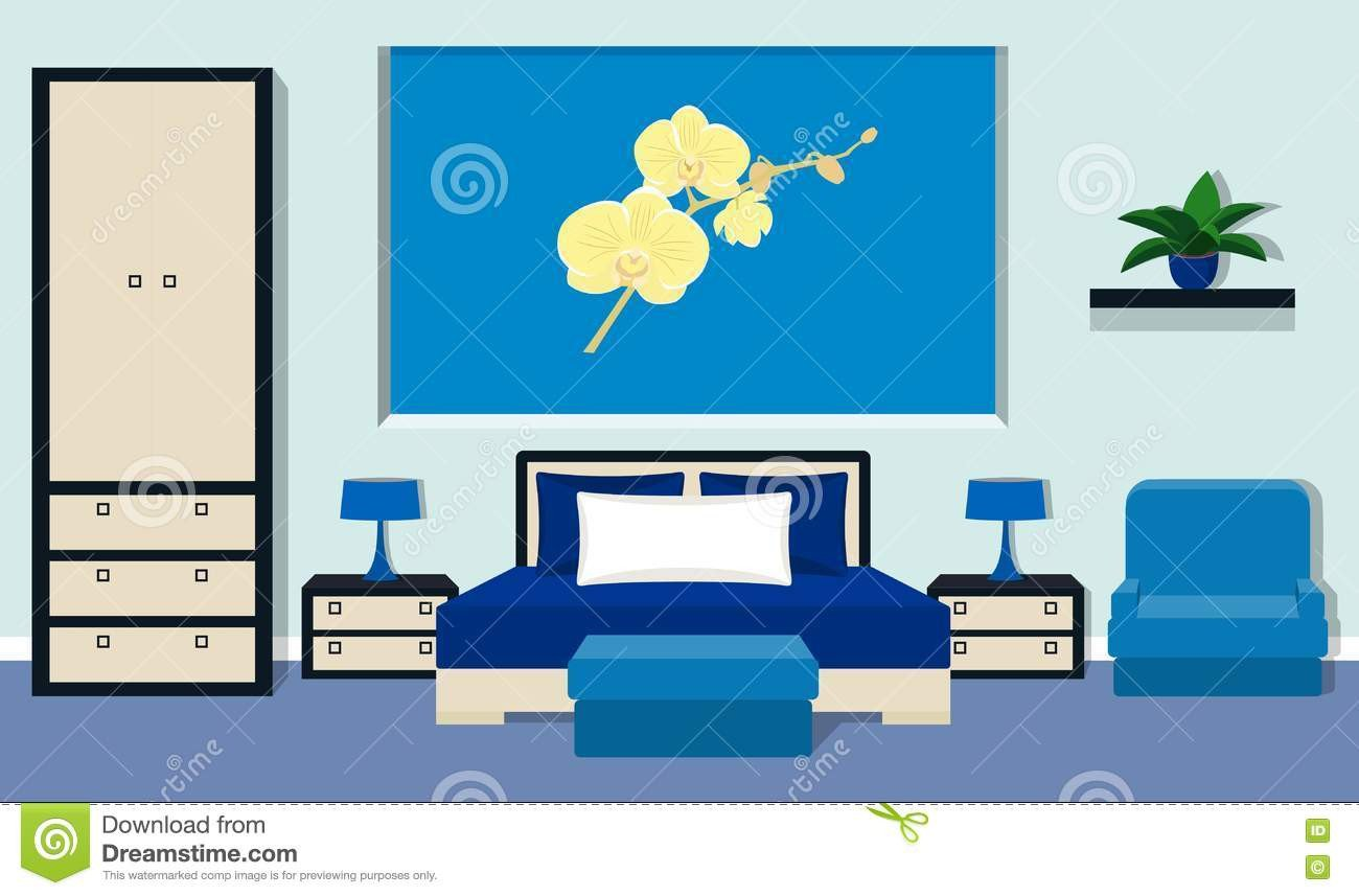 Blue Table Lamps Bedroom Inspirational Bedroom Interior In Blue Colors Vector Illustration Stock