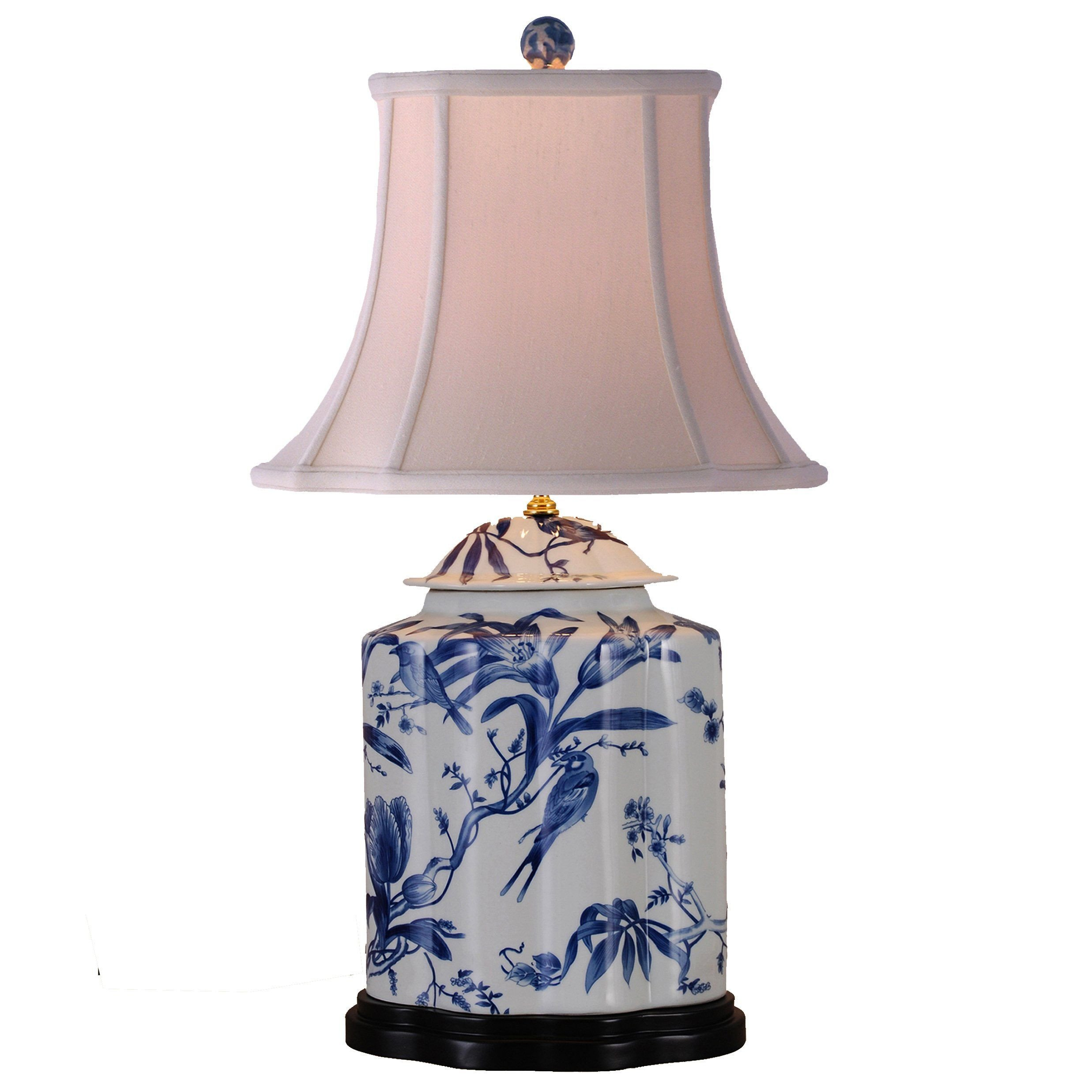 Blue Table Lamps Bedroom Luxury Paradise Birds Blue & White Porcelain Tea Jar Table Lamp In