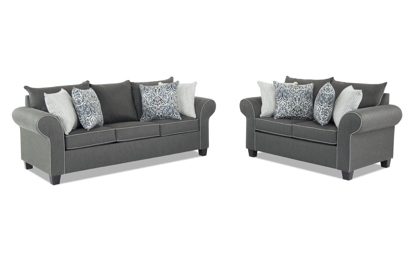 Bob Discount Furniture Bedroom Set New ashton Charcoal sofa & Loveseat
