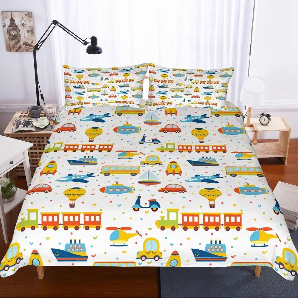Boy Full Bedroom Set Beautiful Boys Bedding Set White Various Vehicles Cars Planes Trains Boat Balloon toddler Duvet Cover Set 3pcs 1 Duvet Cover 2 Pillowcase
