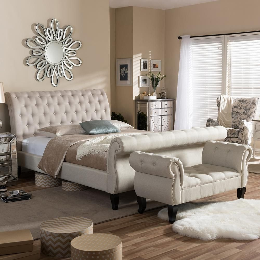 Broyhill King Bedroom Set Fresh Baxton Studio Arran 2 Piece Beige King Bedroom Set In 2019