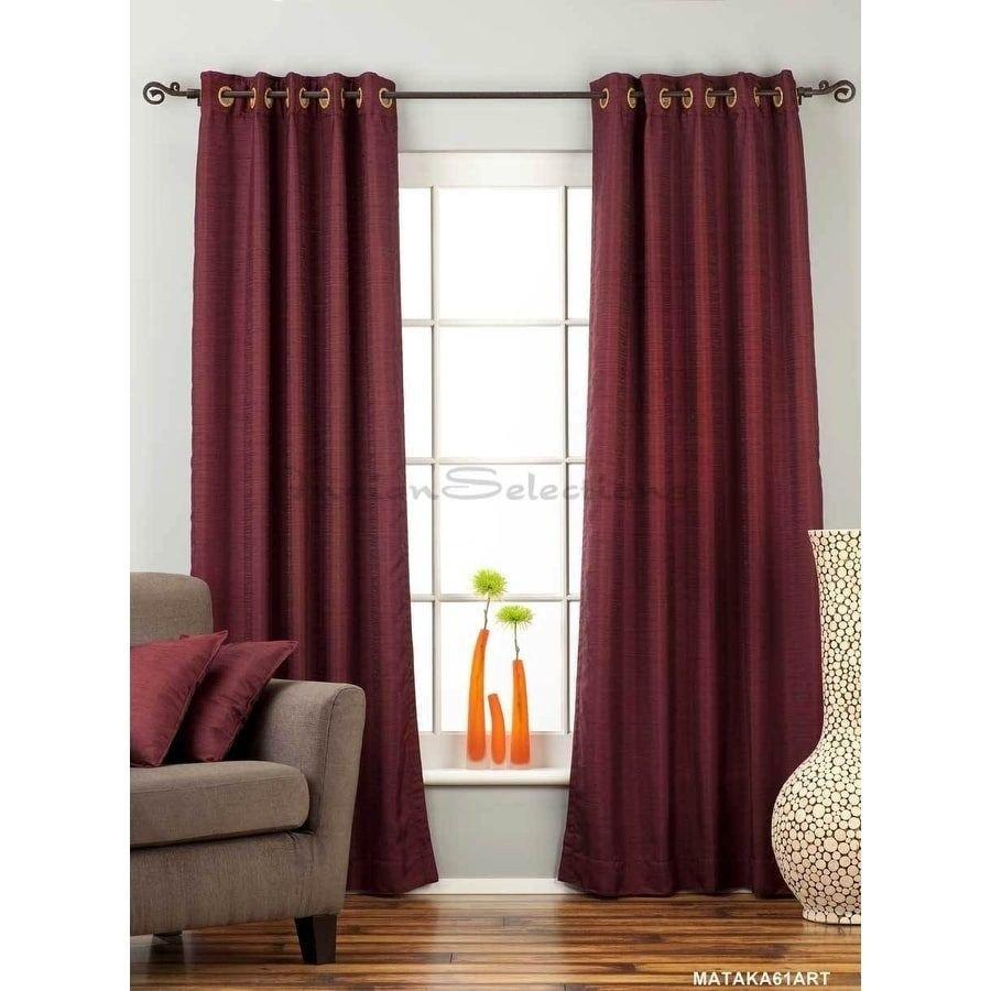 Burgundy Curtains for Bedroom Beautiful Dark Maroon Ring top Matka Raw Silk Curtain Drape Panel