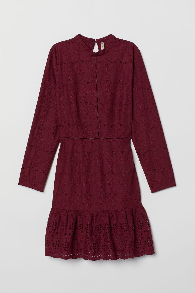 Burgundy Curtains for Bedroom Elegant Embroidered Dress