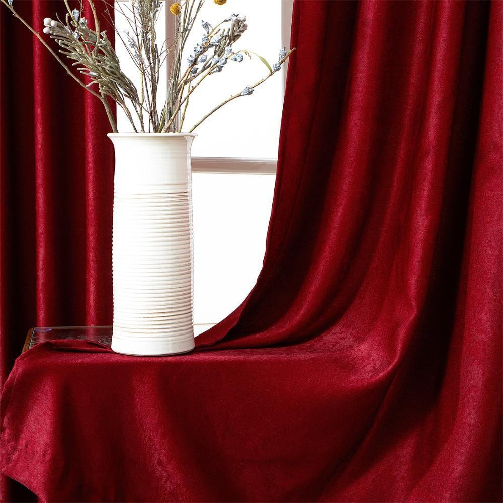 Burgundy Curtains for Bedroom Luxury 2019 Plain Velvet Cotton Curtains for Living Room Bedroom Door Window Panel Blackout Curtain Drapes Burgundy Grey Black Coffee Brown Y From