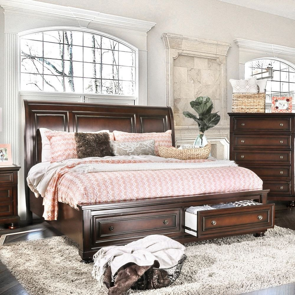 Cal King Bedroom Set New Barelle Traditional Dark Cherry Platform Bed with Drawers by
