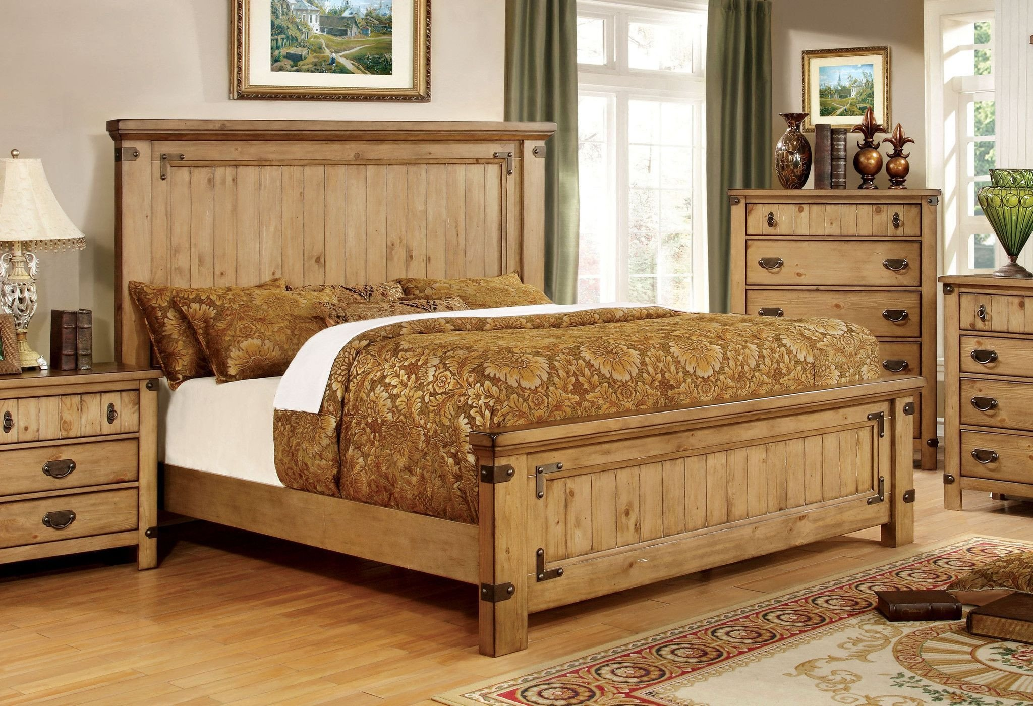 California King Bedroom Set Luxury Mallon Country Style Plank Cal King Bed In Weathered Elm