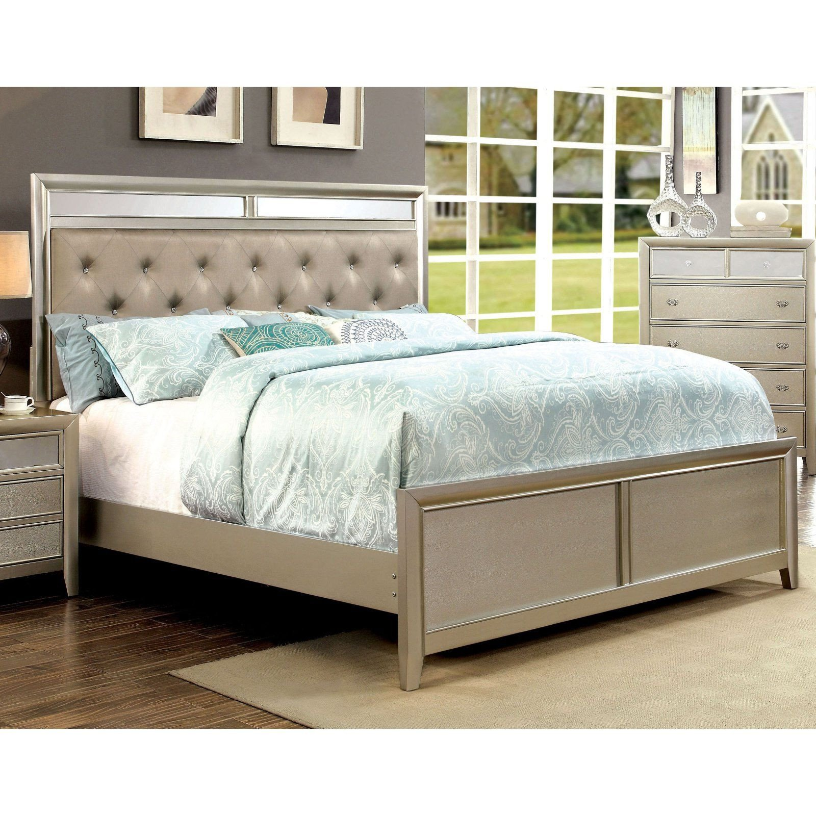 California King Bedroom Set New Furniture Of America Glendora Upholstered Panel Bed Size