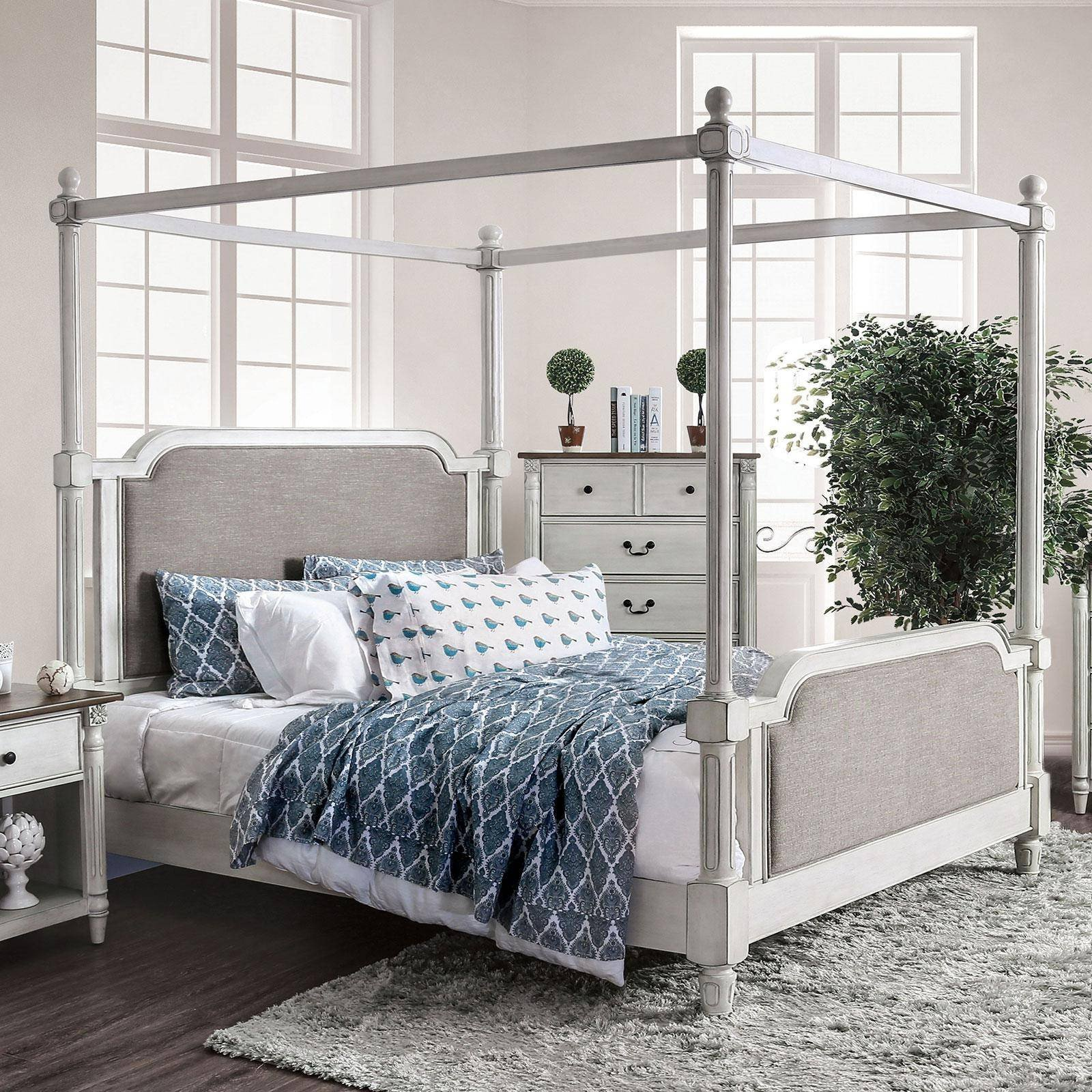 California King Canopy Bedroom Set Elegant Transitional Fabric Upholstery Cal King Canopy Bed In White Lansford Foa Group