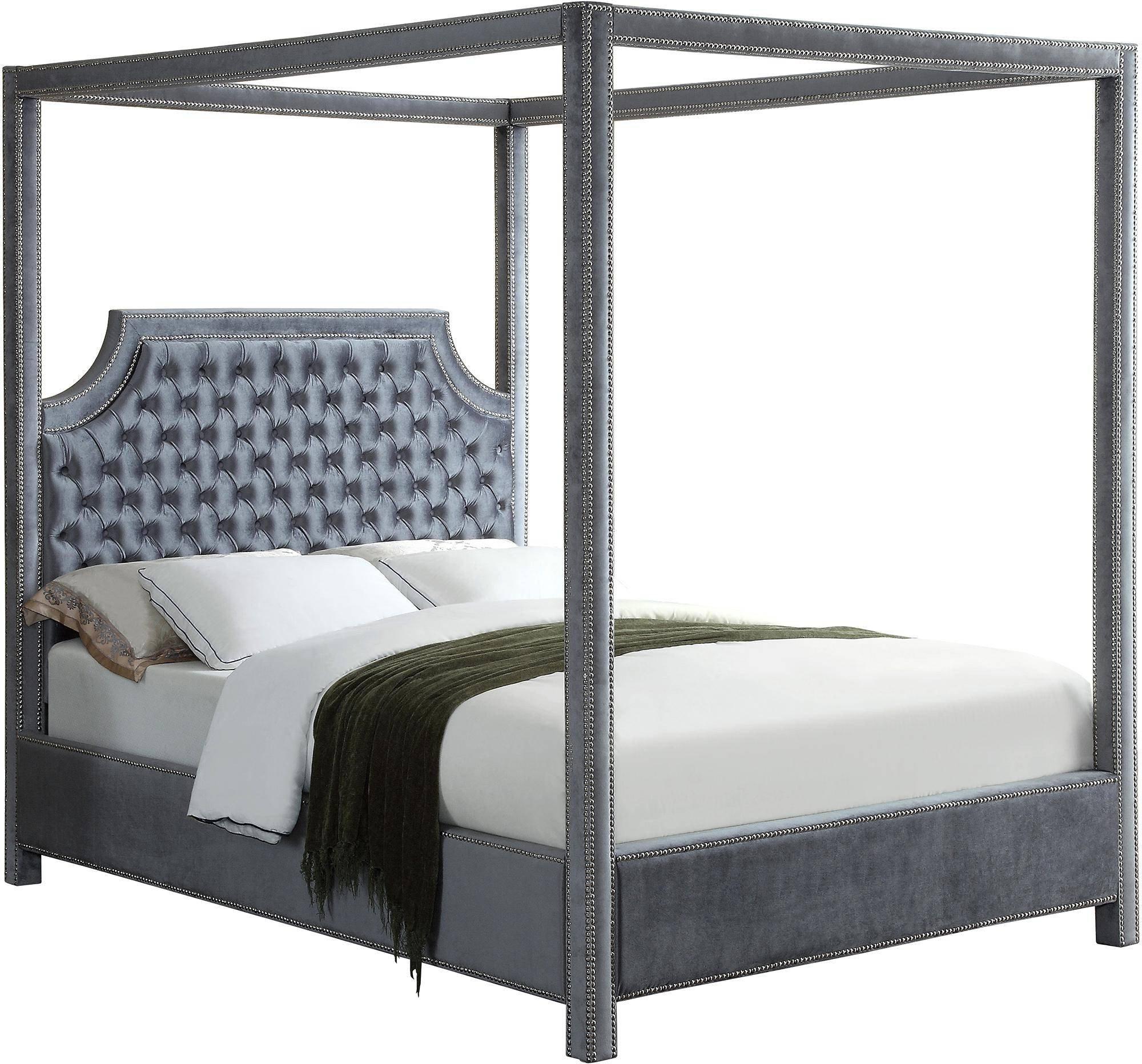 California King Canopy Bedroom Set New Meridian Furniture Rowan Grey Velvet Queen Canopy Bed