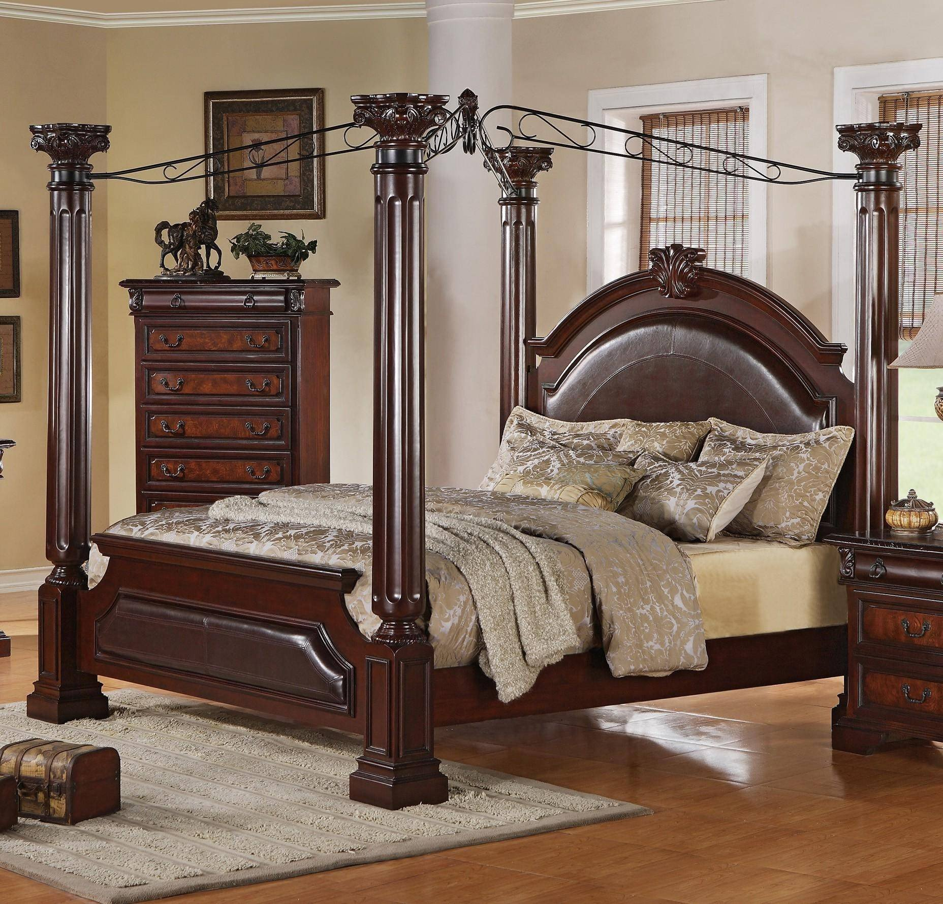California King Canopy Bedroom Set Unique Neo Renaissance B1470 Q Canopy Bedroom Set In 6 Pieces by