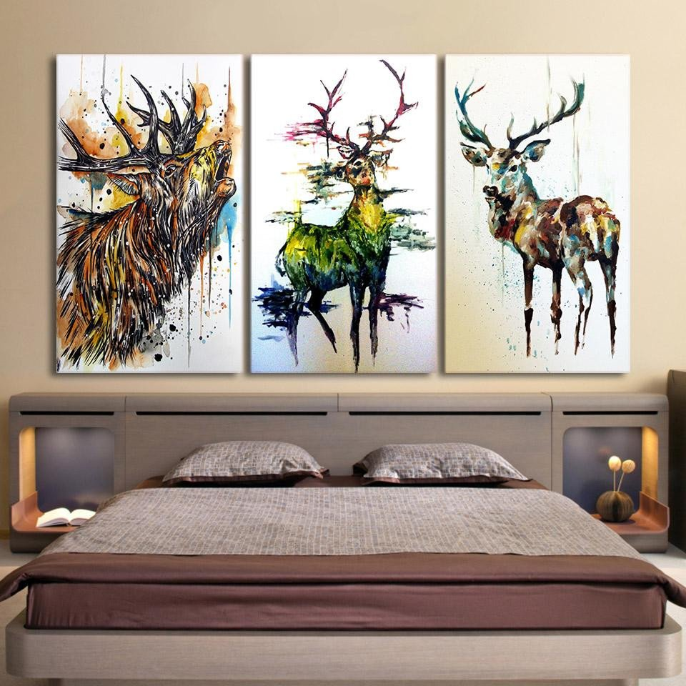 Canvas Painting for Bedroom Awesome Hd Printed 3 Piece Elk Graffiti Deer Canvas Paintings for