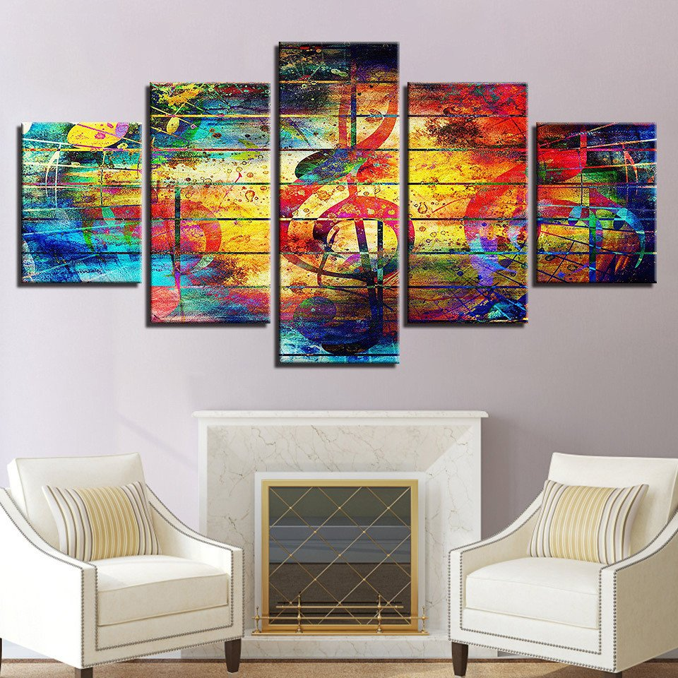 Canvas Painting for Bedroom Beautiful Modern Picture 5 Pieces Canvas Art tops Popular Painting Print On Canvas Wall Art Picture for Note and Guitar Bedroom Framework In Painting &