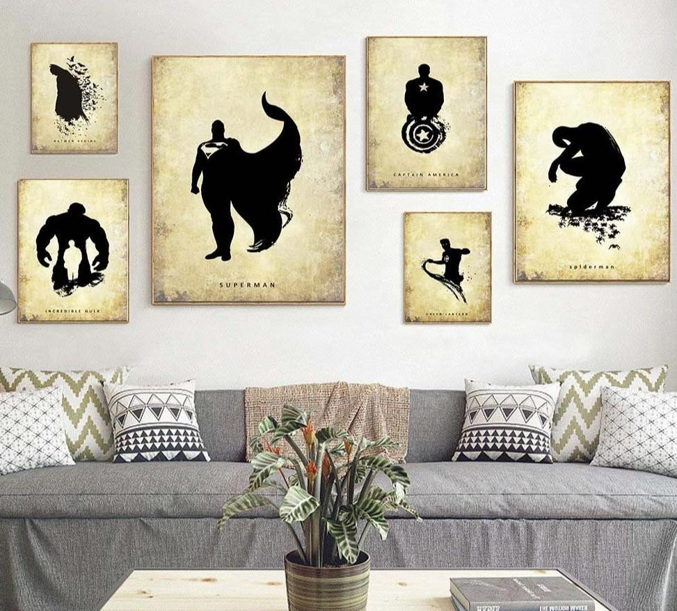 Canvas Painting for Bedroom Luxury Batman Superman Hulk Superheroes Vintage Poster Minimalist Art Canvas Painting Wall Picture Print Home Room Decoration 390