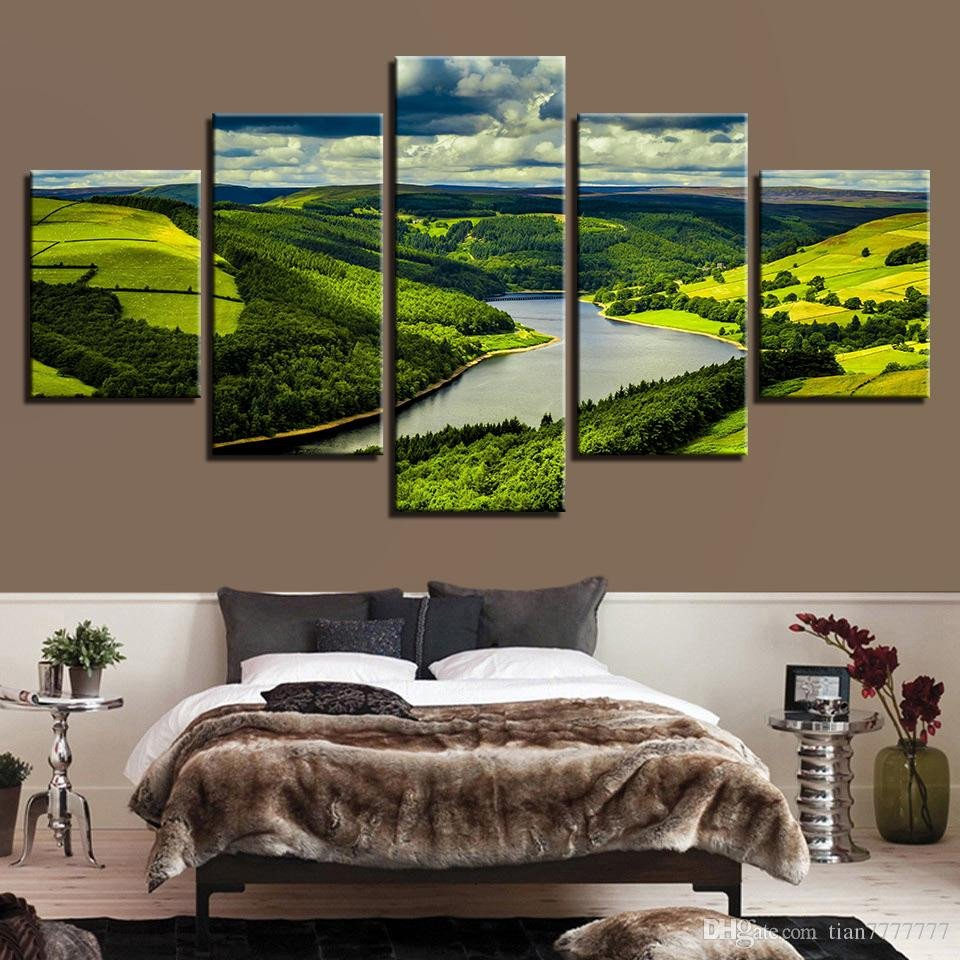 Canvas Painting for Bedroom New 2019 Mountains Lake Canvas Painting Modern Home Decoration Wall Art Picture Hd Print Landscape Poster for Living Room No Frame From Tian