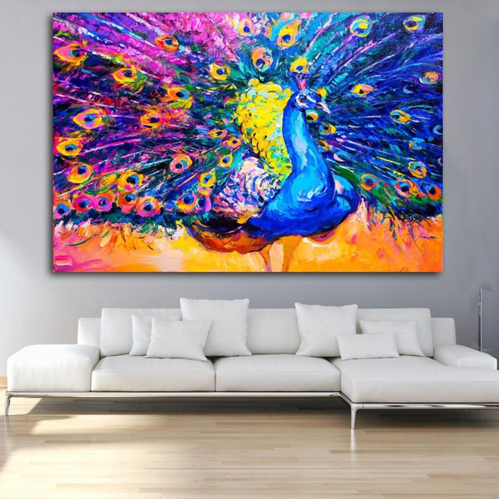 Canvas Painting for Bedroom New Colored Drawing Peacock Bedroom Wall Art Decor Unframed