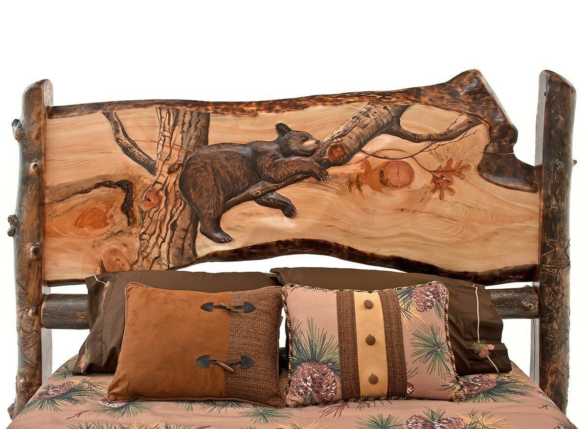 Cedar Log Bedroom Furniture Fresh Create A Scene Carved Wildlife aspen Log Headboard