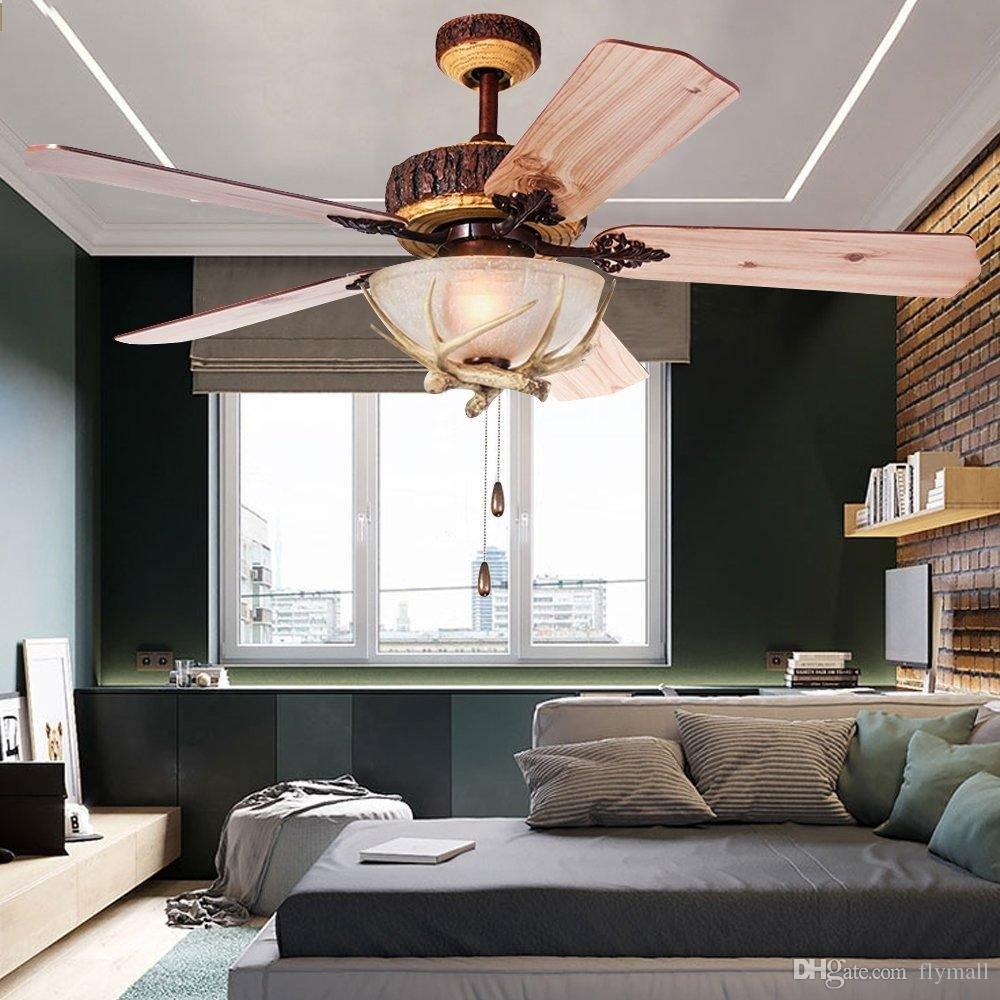 Ceiling Fan for Bedroom Inspirational 2019 Rustic Ceiling Fan 52inch Indoor Home Decoration Living Room Antlers Silent Industrial Fans Chandelier Vintage Pendant Light Wood Blades From