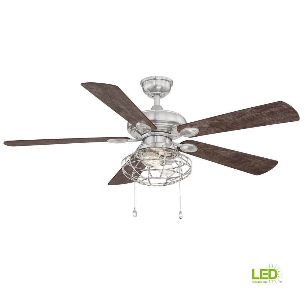 Ceiling Fan for Bedroom New Home Decorators Collection Ellard 52 In Led Brushed Nickel