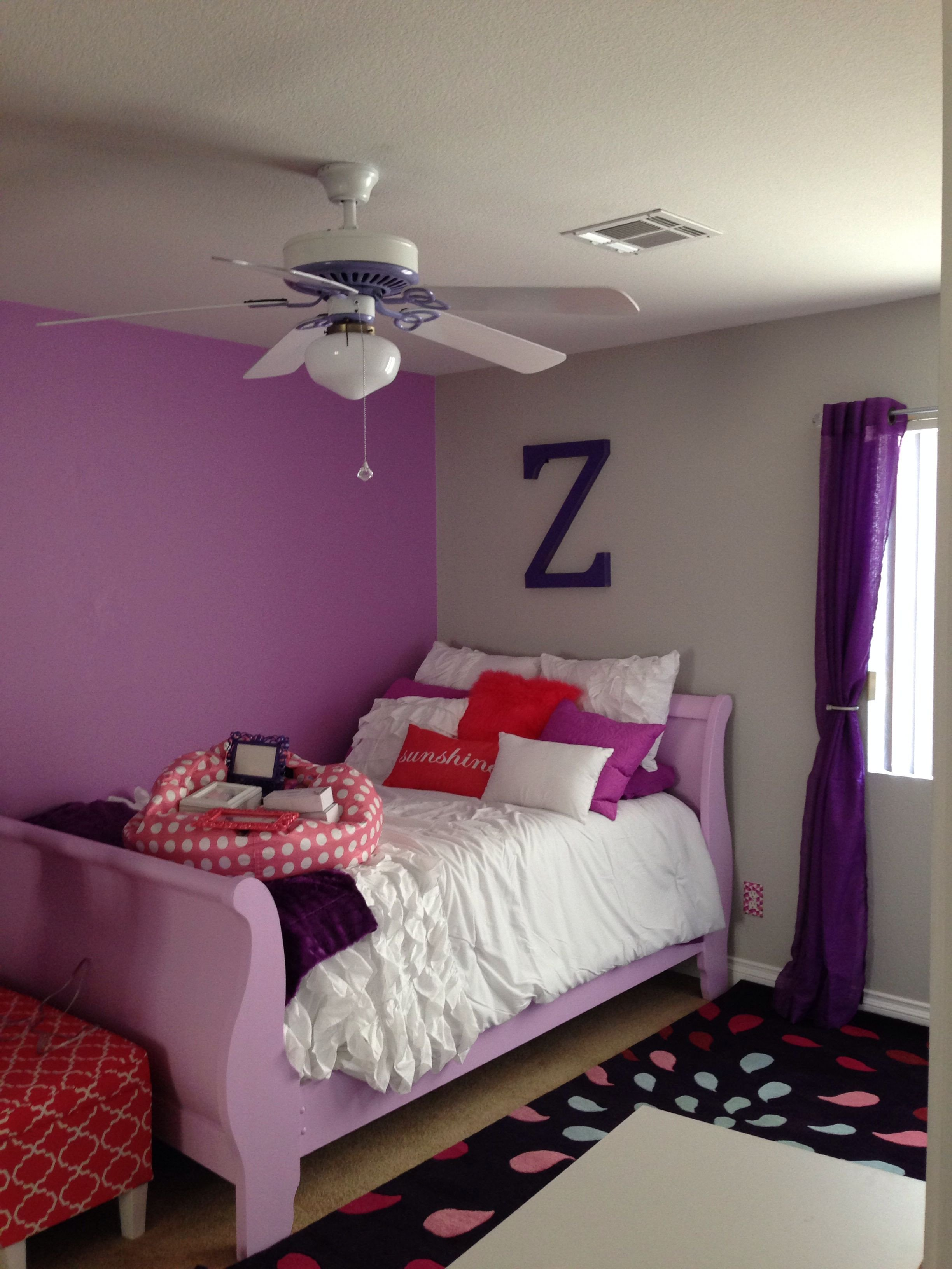 Ceiling Fans for Girl Bedroom Best Of Purple and Coral Girls Bedroom Painted Sleigh Bed $50 From