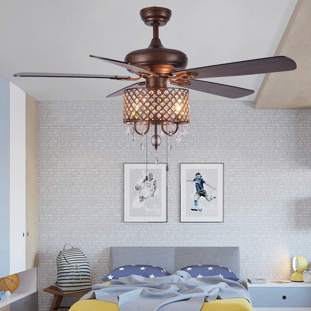 Ceiling Fans for Girl Bedroom Elegant andersonlight Rustic Ceiling Fan with Crystal Light Home Indoor Quiet Reversible Blade Ceiling Fan Chandelier Bedroom Living Room Family Ideal Fan