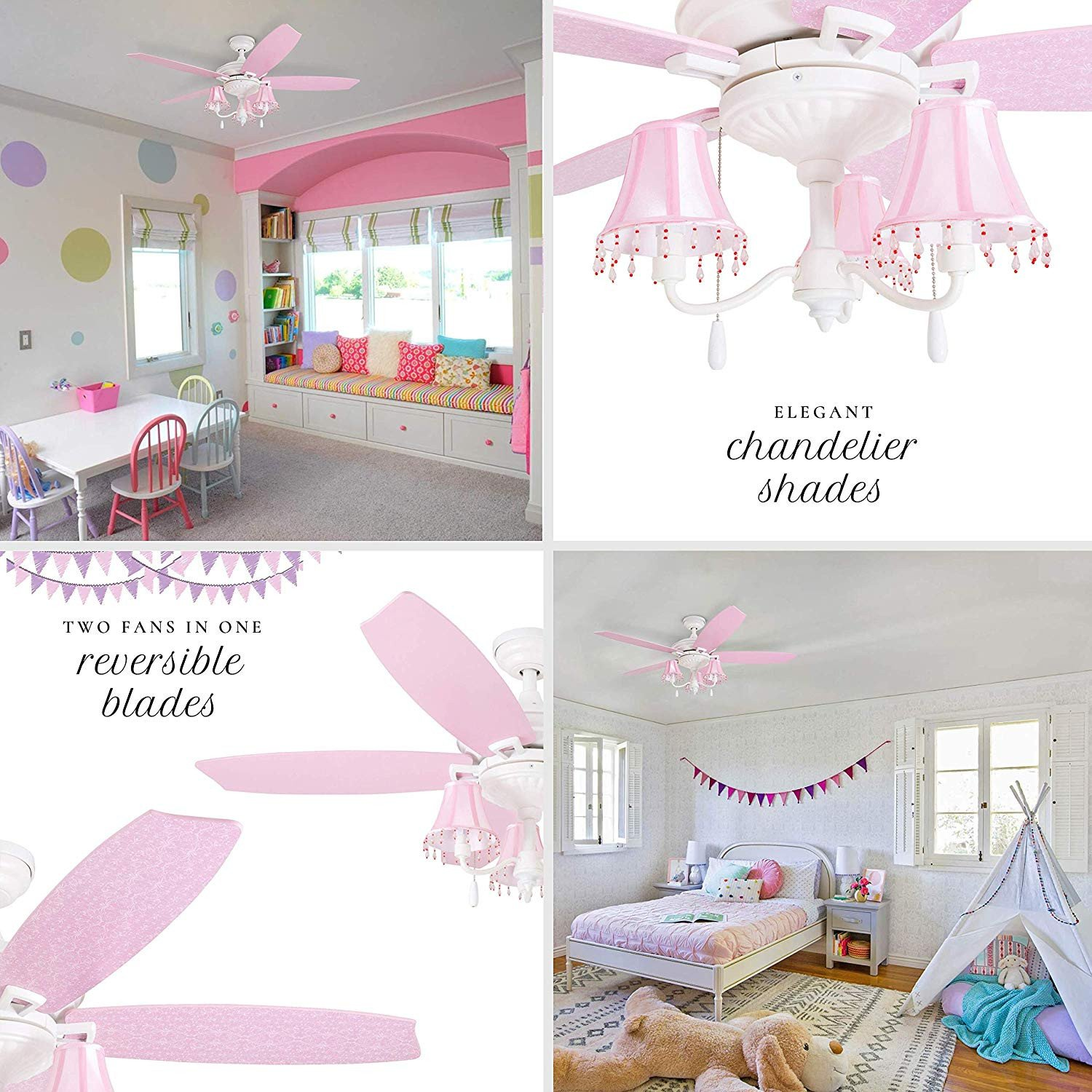 "Ceiling Fans for Girl Bedroom Inspirational Prominence Home Elsa 48"" Pink Ceiling Chandelier Lamp Shades Dusty Rose Blushing Glow Fan Blades Classic White"