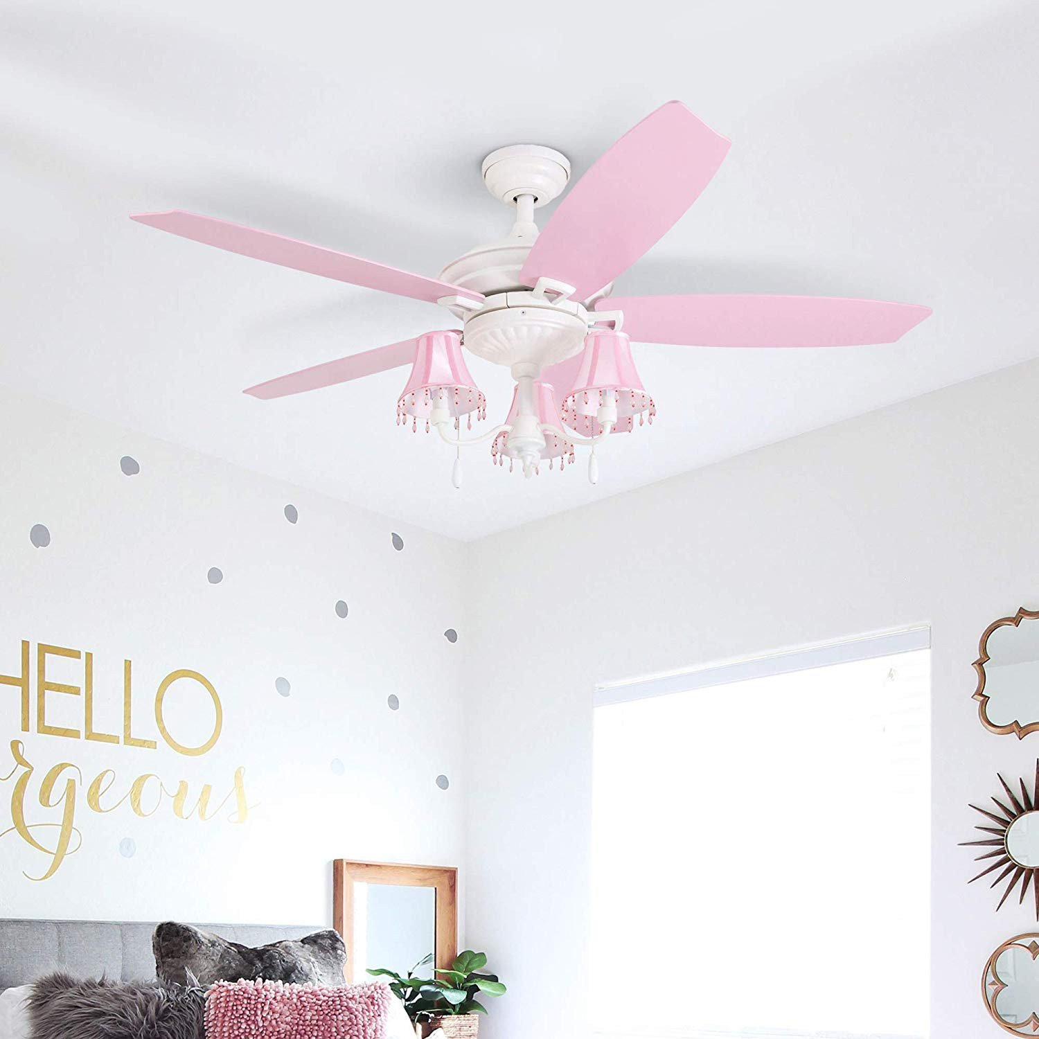 "Ceiling Fans for Girl Bedroom Unique Prominence Home Elsa 48"" Pink Ceiling Chandelier Lamp Shades Dusty Rose Blushing Glow Fan Blades Classic White"