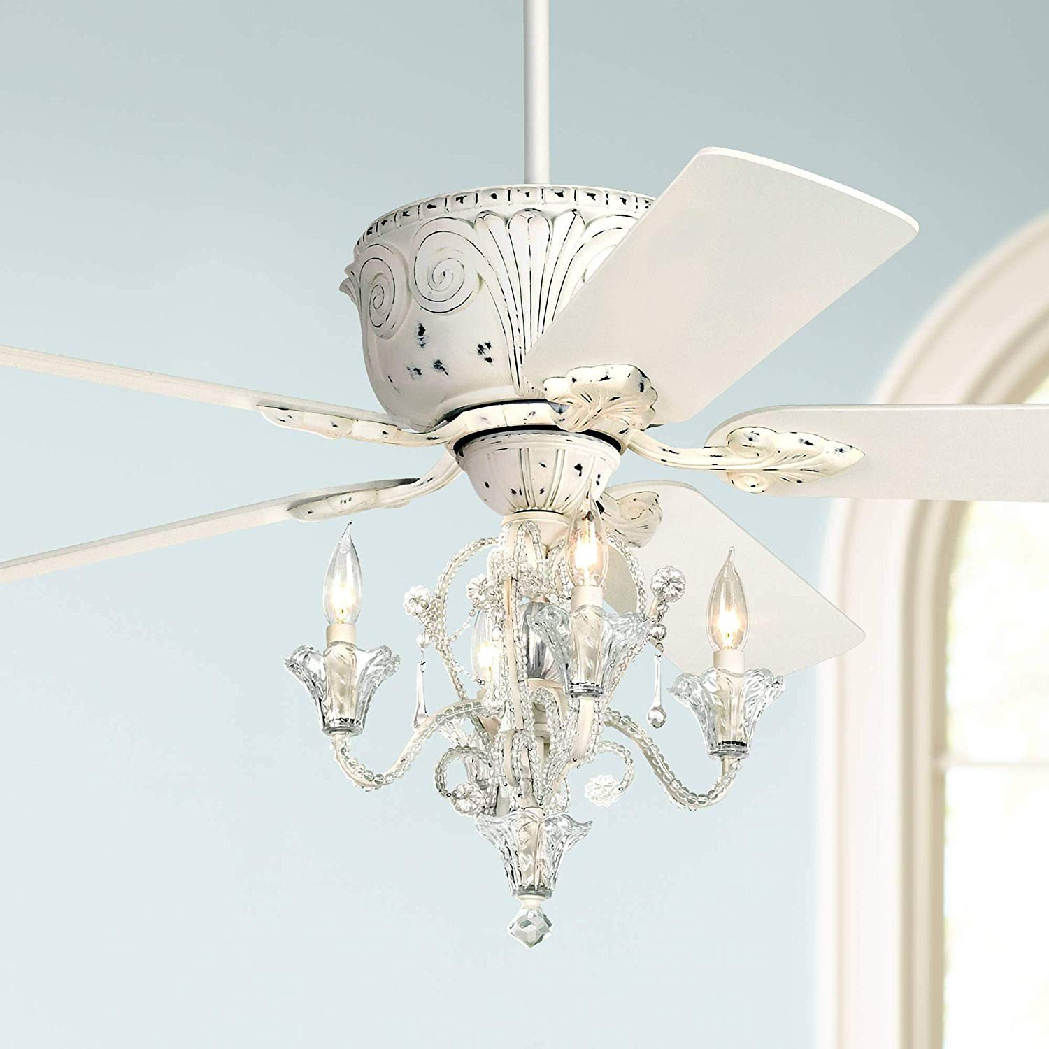 """Chandelier for Teenage Girl Bedroom Best Of 52"""" Casa Deville Vintage Chic Ceiling Fan with Light Led Crystal Chandelier Rubbed White for Living Room Kitchen Bedroom Family Dining Casa Vieja"""