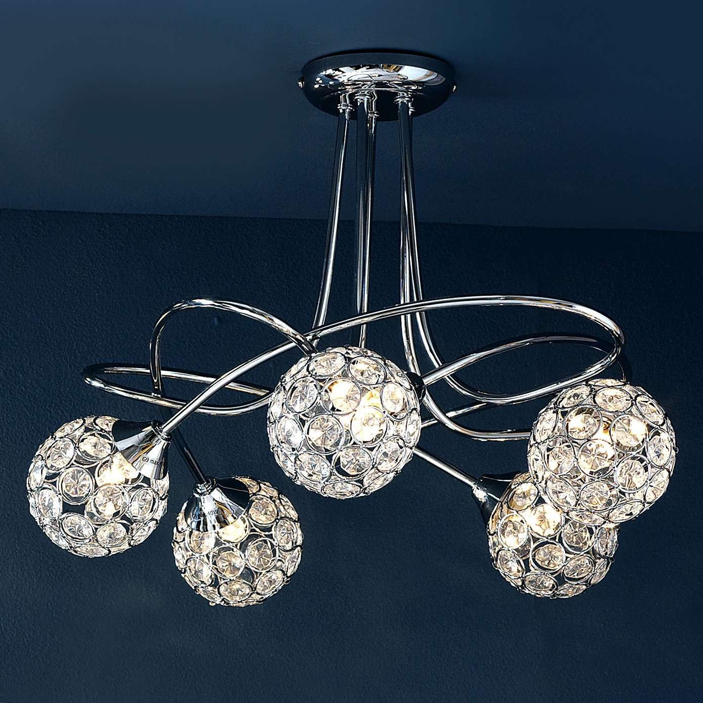 Chandelier Light for Bedroom Beautiful Sphere 5 Light Chrome Ceiling Fitting