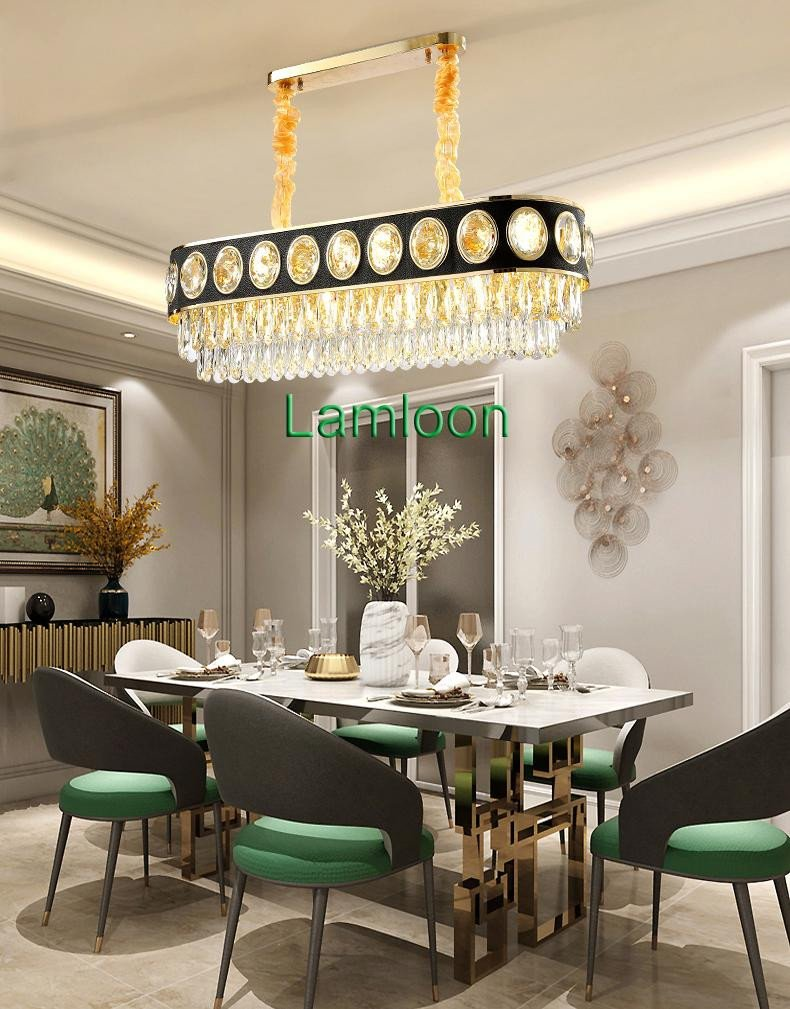 Chandelier Lighting for Bedroom Elegant Contemporary Luxury K9 Crystal Black Chandelier Lighting Fixture Modern Gold Oval Chandeliers Led Lights Dinning Room Pendant Lamp Chandeliers for