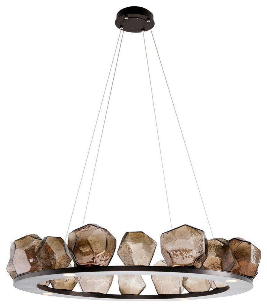"Chandelier Lighting for Bedroom Luxury 16 Gem Ring Chandelier 48""d Metallic Beige Silver Bronze Glass"