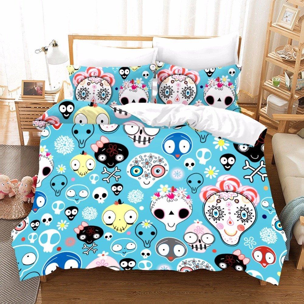 Cheap Bedroom Comforter Set Unique Us $32 32 Off Cartoon Sugar Skull Bedding Bedding Duvets and Linen Sets Bed Sheets Kawaii King Size Bedding Set Kids Duvet Cover Pillowcase F In