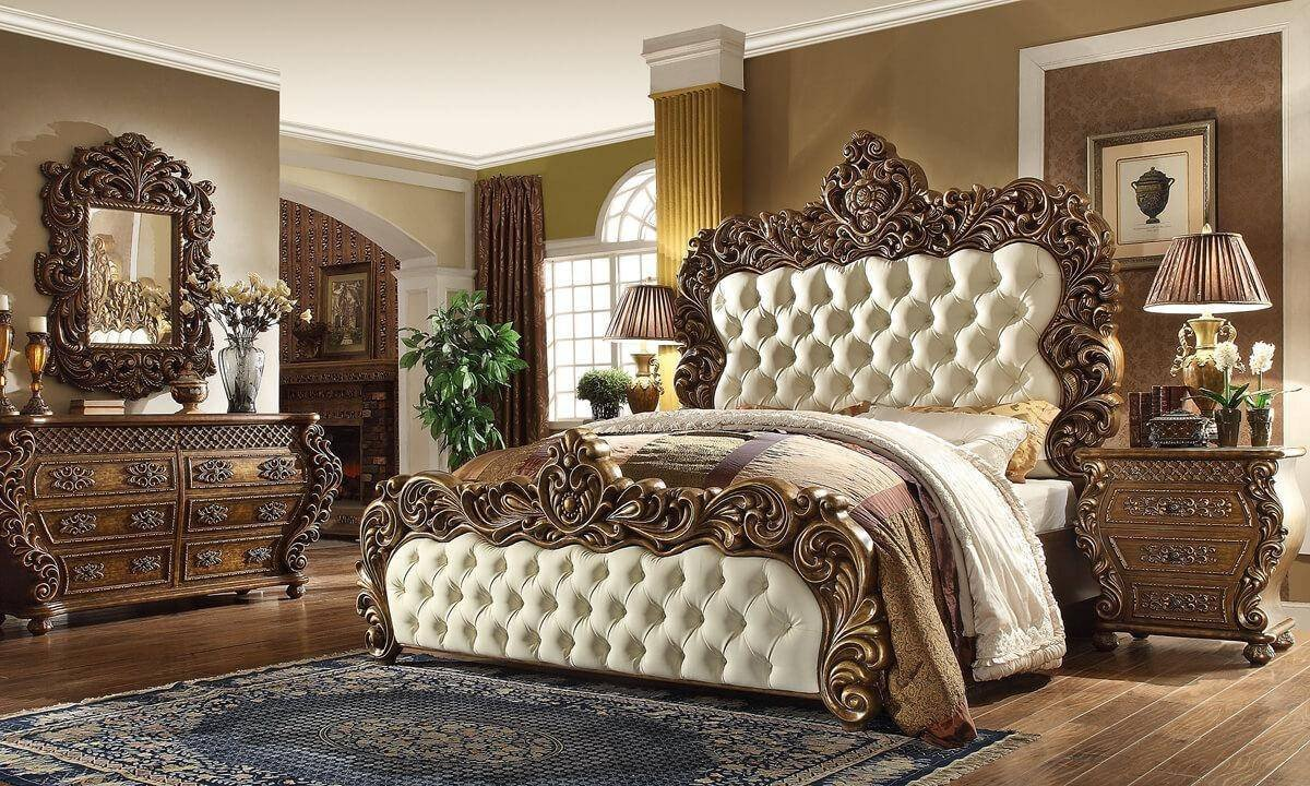 Cheap Bedroom Decor Online Shopping Best Of Rich Walnut Golden Finish King Bed Traditional Homey Design