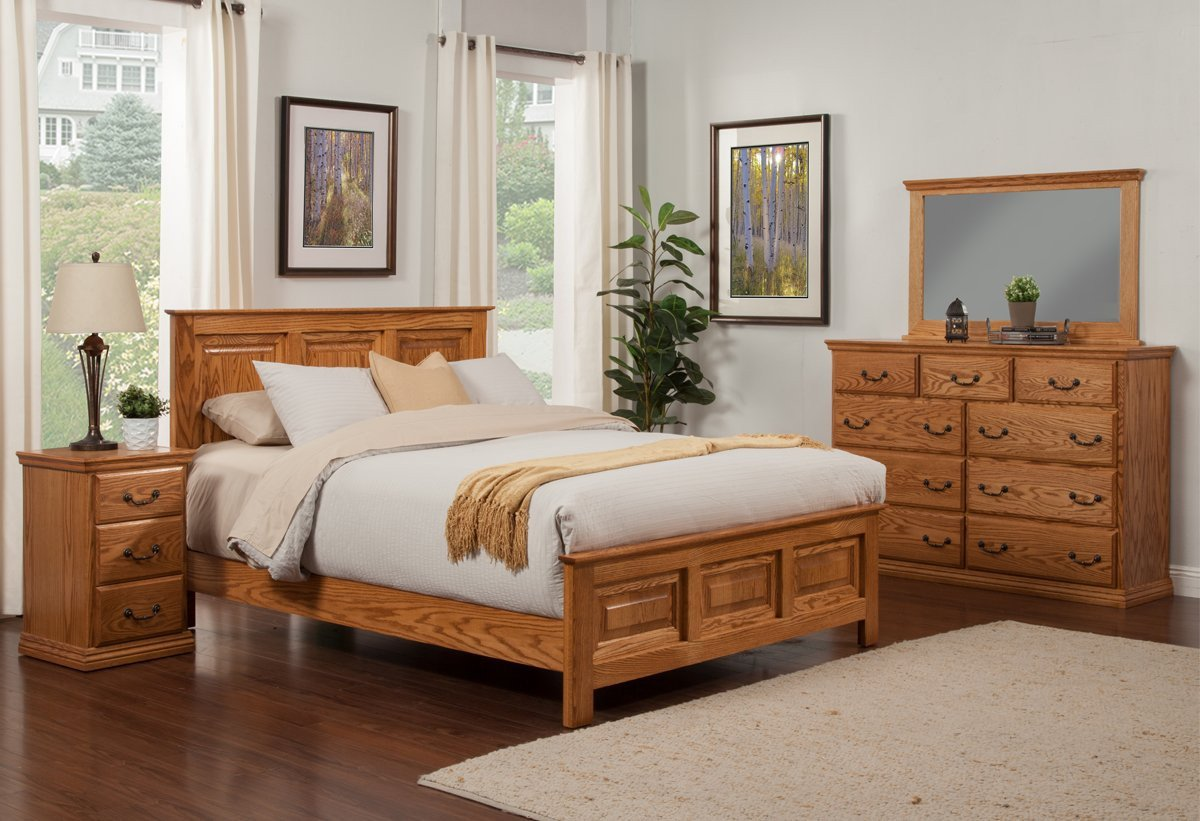 Cheap Bedroom Dresser Set Luxury Traditional Oak Panel Bed Bedroom Suite Queen Size