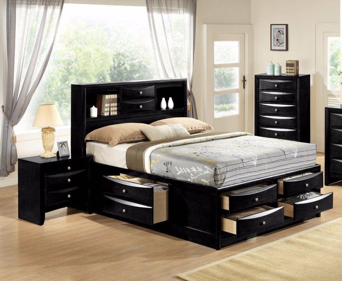 Cheap Bedroom Set Online Luxury Crown Mark B4285 Emily Modern Black Finish Storage King Size