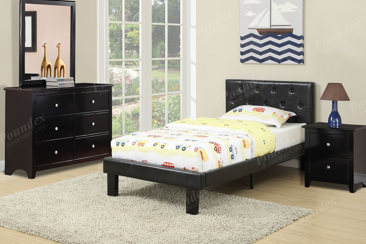 Cheap Bedroom Set Twin Luxury Espresso Upholstered Twin Bedframe