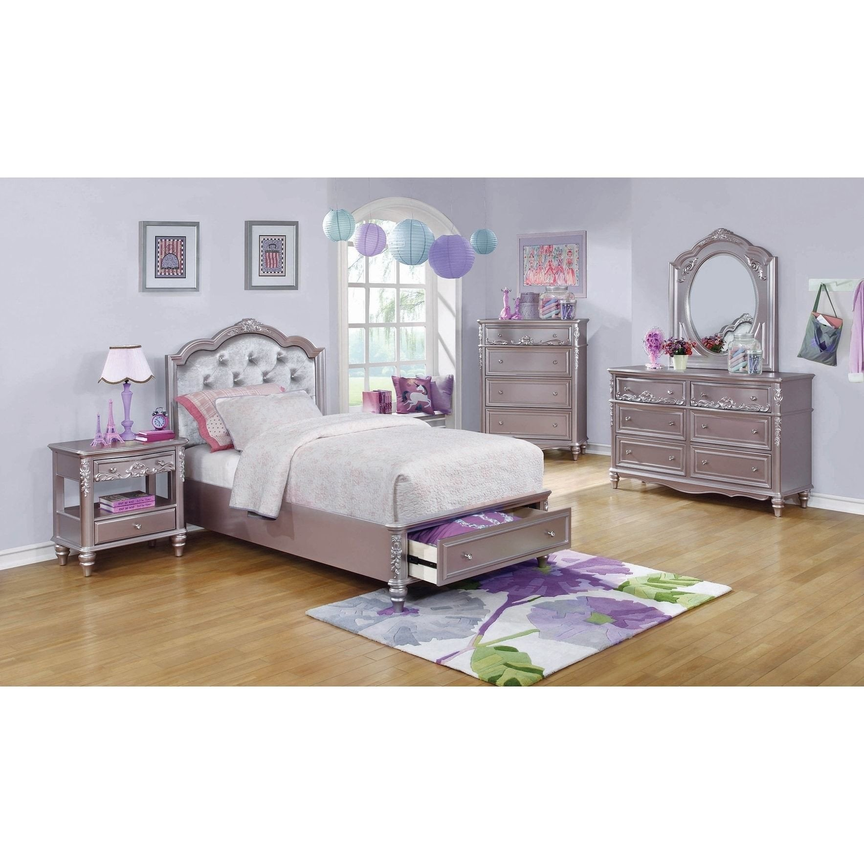 Cheap Bedroom Set Twin Luxury Seraphina Metallic Lilac 4 Piece Bedroom Set with 2