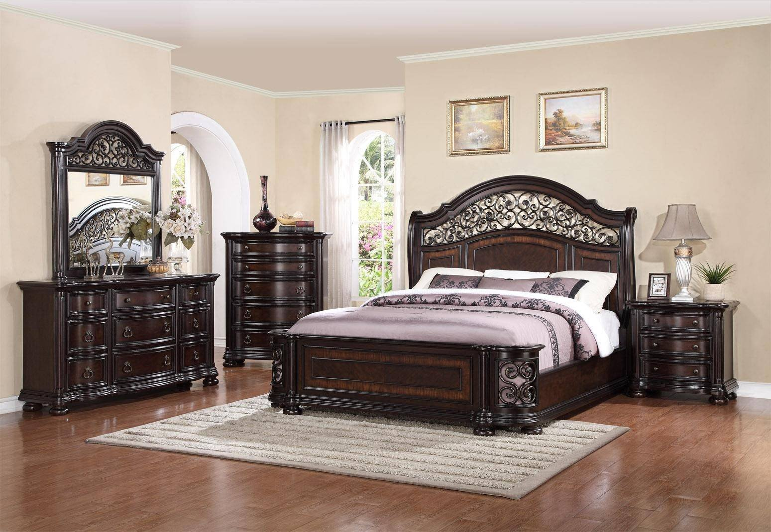 Cheap California King Bedroom Set New Mcferran B366 Allison Espresso Finish solid Hardwood