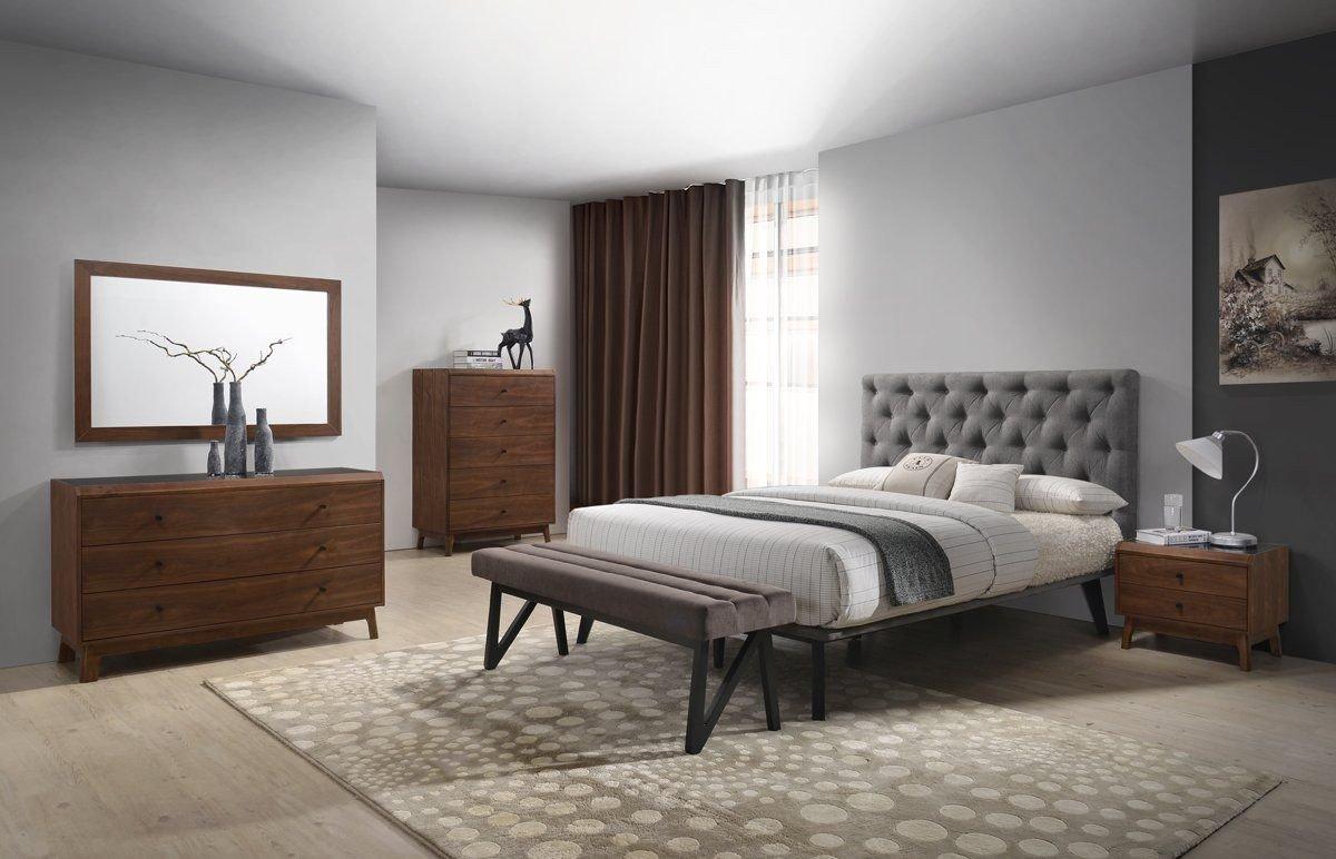 Cheap Modern Bedroom Set Beautiful Modrest Gibson Modern Grey & Walnut Bedroom Set