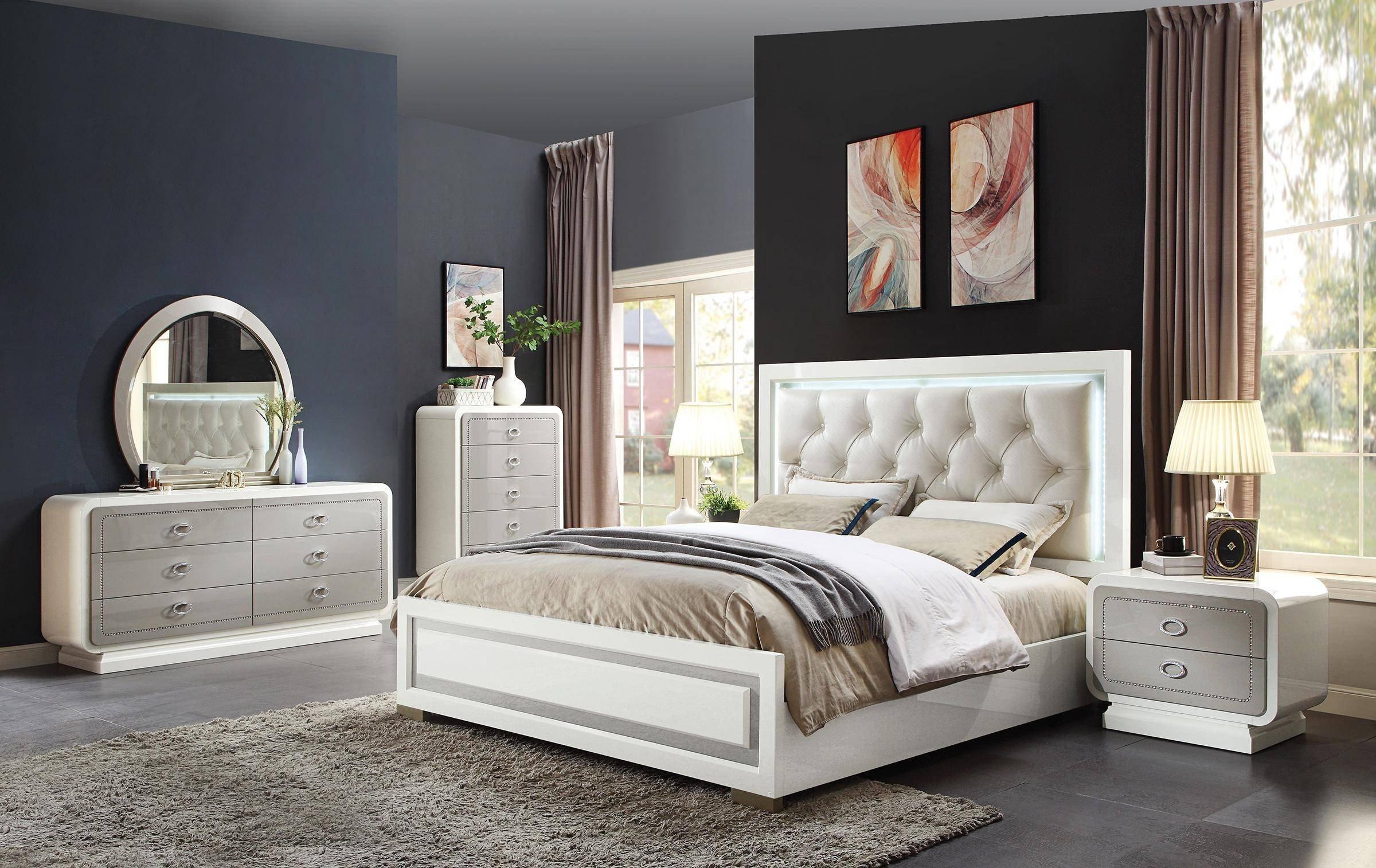 Cheap Queen Bedroom Set Elegant Glam Ivory & Latte High Gloss Queen Bedroom Set 5pcs