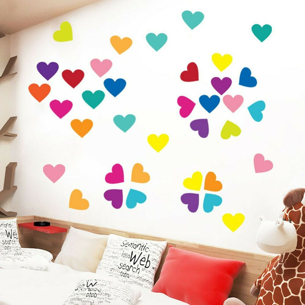 Childrens Bedroom Wall Stickers Removable Awesome Kids Boys Girls Bedroom Living Room Heart Shape Wall