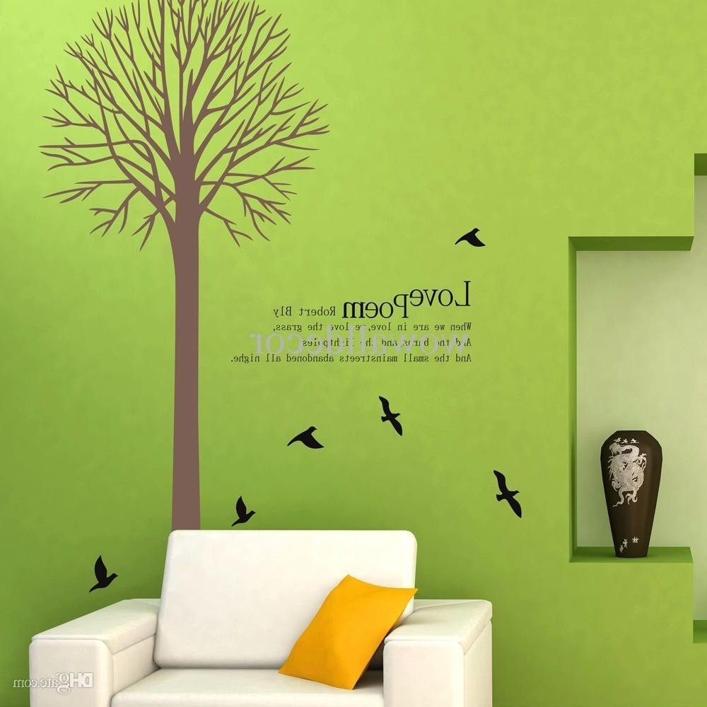 Childrens Bedroom Wall Stickers Removable Beautiful Birds Nesting In Tree Nature Wall Stickers Wall Decor Decals
