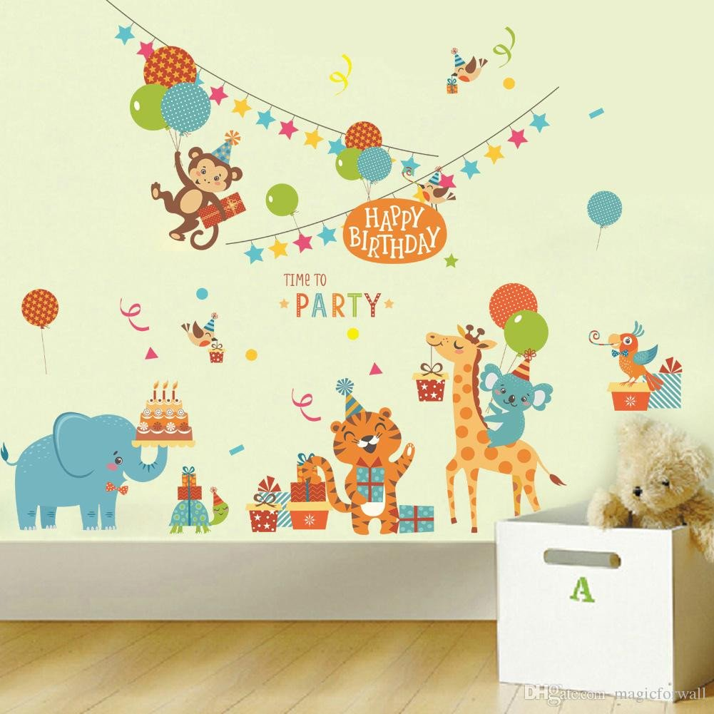 Childrens Bedroom Wall Stickers Removable Elegant Cartoon Animals Birthday Party Wall Stickers for Kids Boys Girls Room Decor Air Balloon Cake Gift Party Wall Graphic Poster Wall Decals