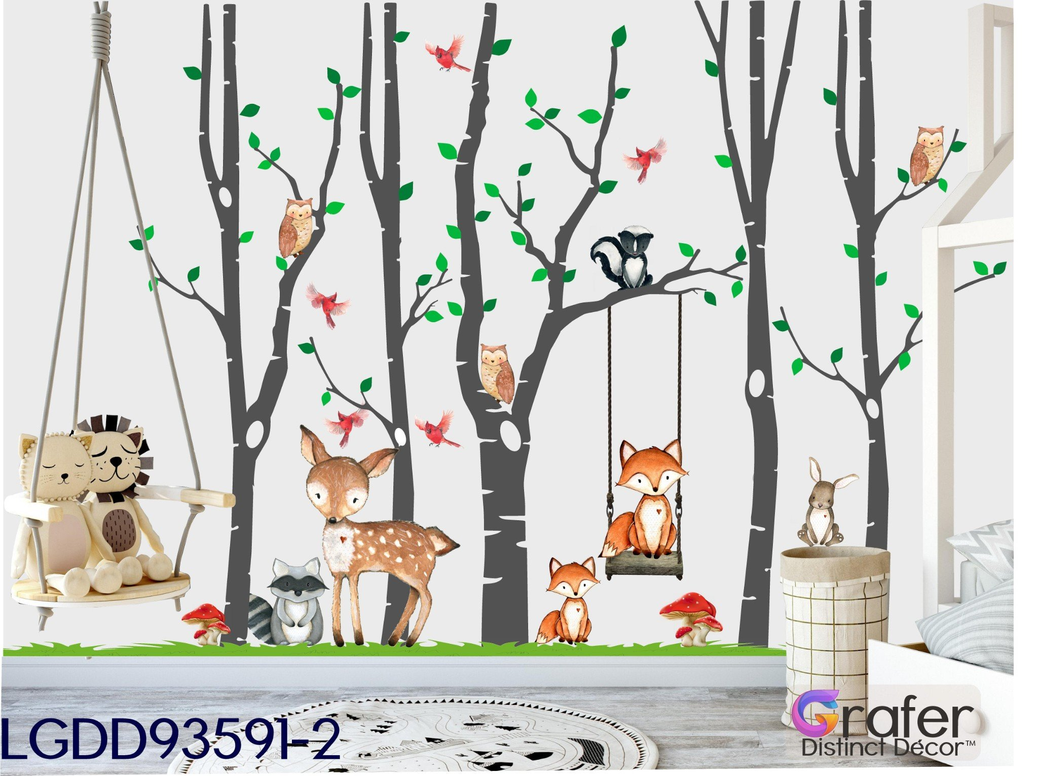 Childrens Bedroom Wall Stickers Removable Elegant Woodland Nursery Wall Decal Safari Nursery Decor
