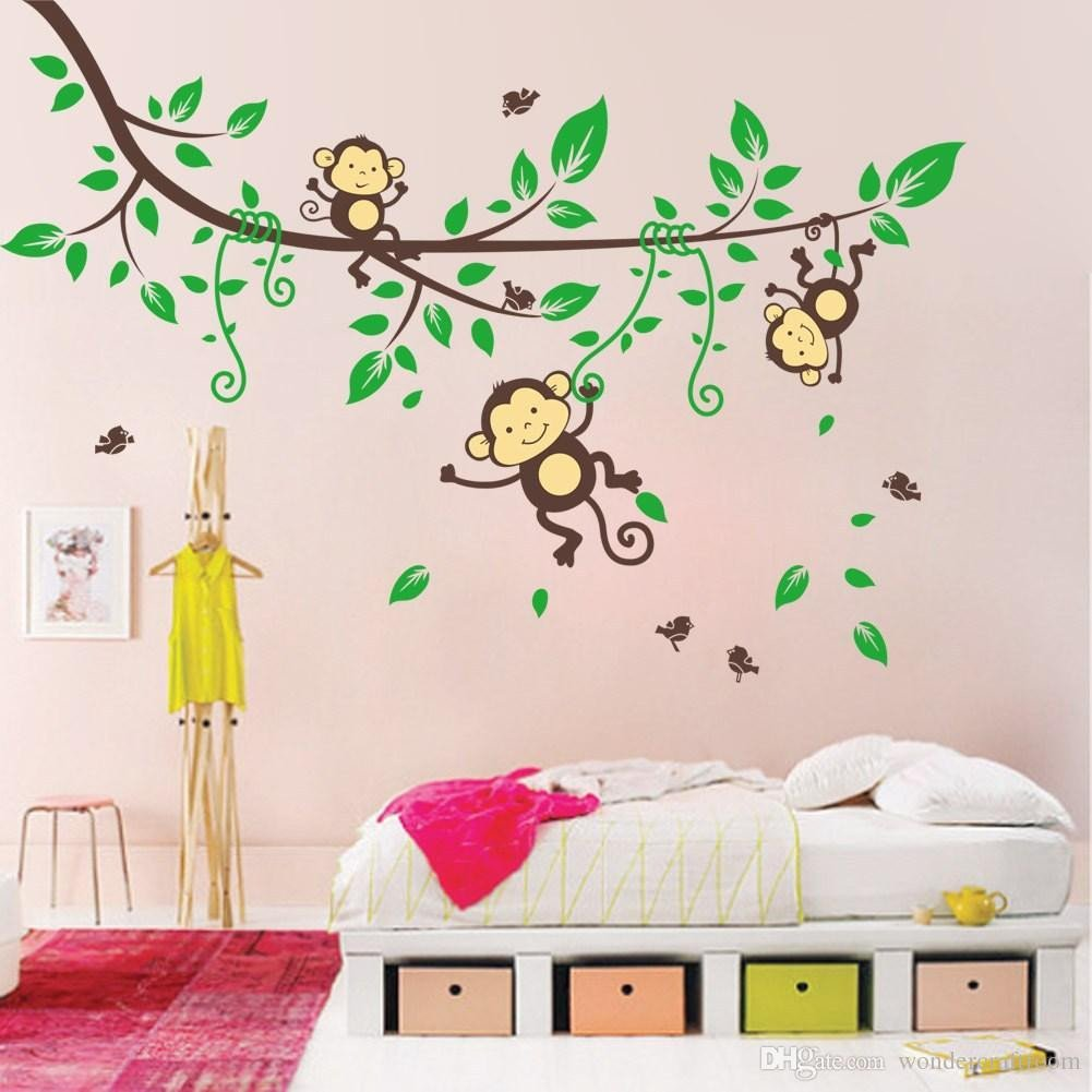 Childrens Bedroom Wall Stickers Removable Fresh Cartoon Monkey Art Wall Sticker Removable Pvc Vinyl Wall Stickers Wall Decal for Baby Kids Bedroom Decoration Decoration Wall Stickers Decorative
