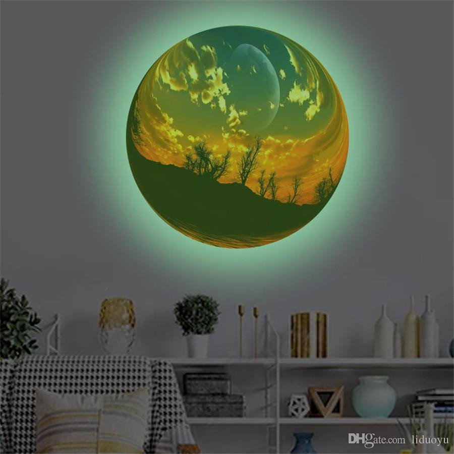 Childrens Bedroom Wall Stickers Removable Luxury 3d Scenic Ball Fluorescent Wall Sticker Removable Glow In the Dark Noctilucent Decals Wall Decor Home Art Kids Room Baby Boy Wall Decals for Nursery